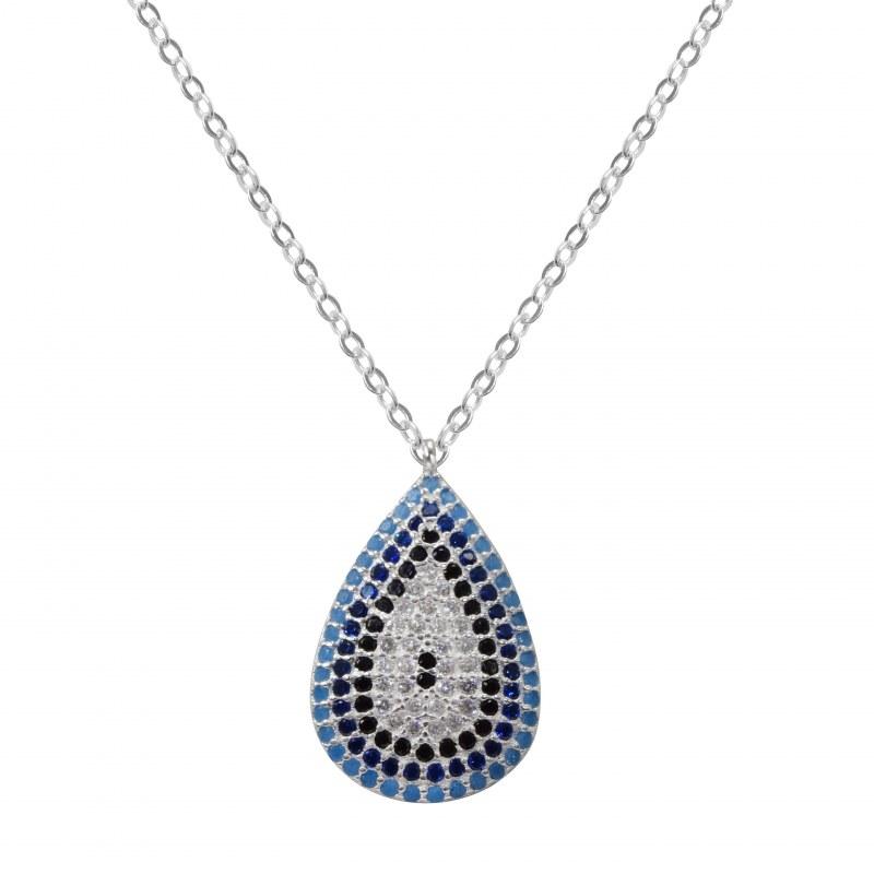 Pendiente del collar cadena colgante gotas con plata de cristal de Swarovski® morada